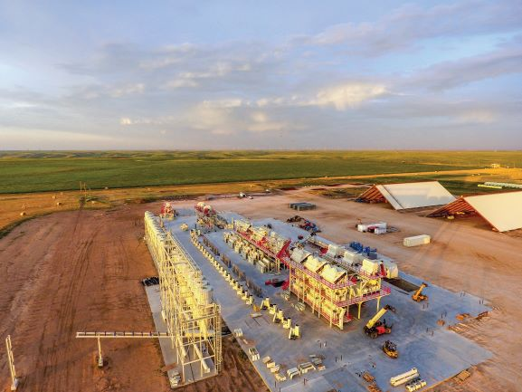 aerial photo of construction of lonestar cotton gin in pampa texas